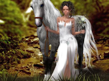 Обои Девушка с лошадью