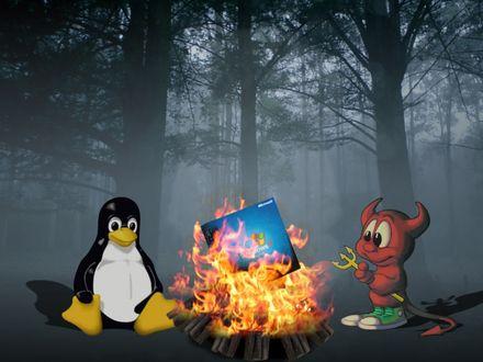 Обои Пингвинёнок и чертёнок сжигают на костре пакет с  Windows Microsoft