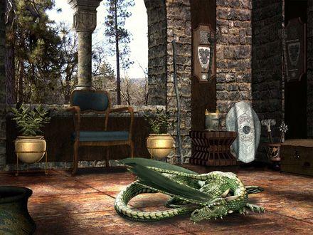 Обои Дракон отдыхает в замке