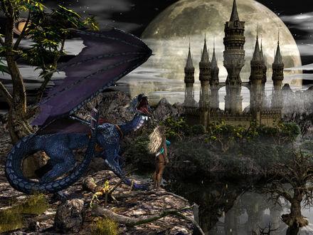 Обои Девушка и дракон смотрят на башни замка
