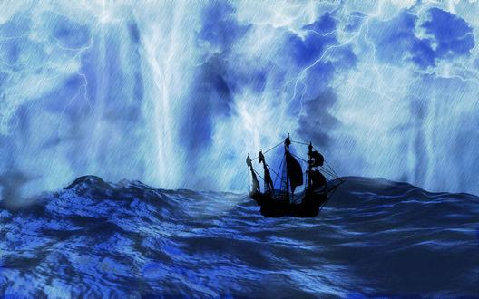 Обои Парусник в штормящем море в грозу