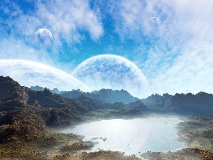 Обои Пейзаж горного озера на фоне планет