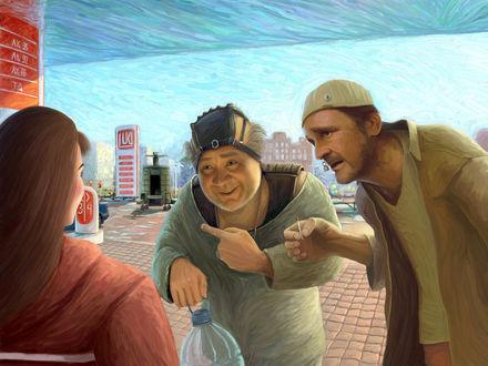 Обои рисунок по мотивам фильма ''Кин-дза-дза'