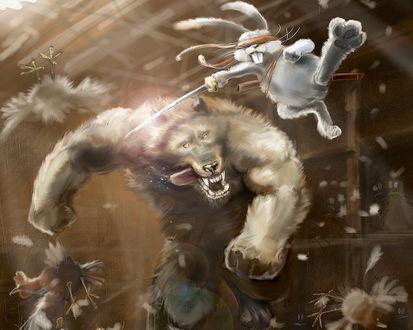 Обои поединок в курятнике между кроликом и волком