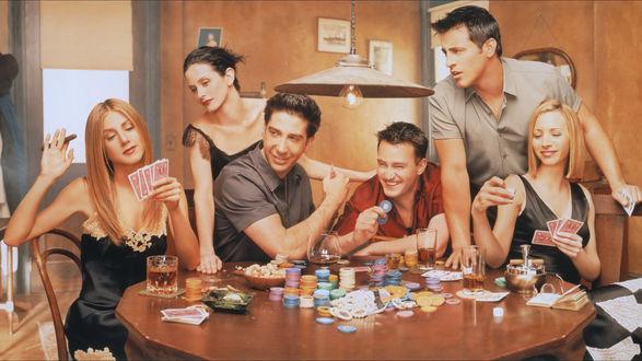 Обои Актеры сериала друзья играют в покер