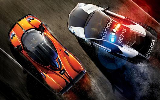 Обои Погоня полиции на автомобиле Lamborghini Reventon за спортивной машиной Pagani Zonda Cinque из игры Need for Speed: Hot Pursuit (2010)