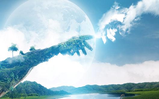 Обои На фоне фрагмента Сикстинской капеллы прекрасный зелёный уголок природы
