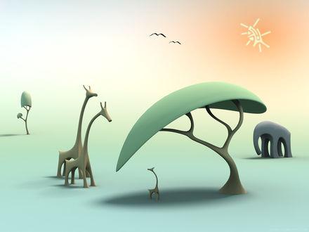 Обои Стилизированные жирафы, слон, саванна и солнце над ними