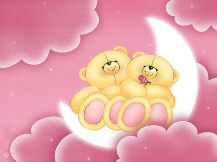 Обои Игрушки - медвежата сидят на луне.