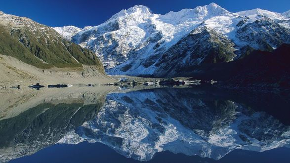 Обои Зеркально чистое озеро , в котором отражаются горы
