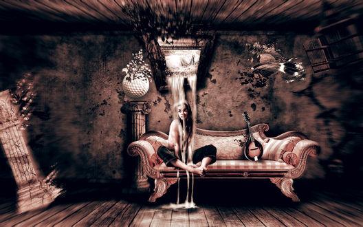 Обои Девушка сидит на диванчике в комнате со странным интерьером, из картины на стене на неё сыпется песок времён