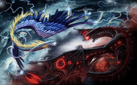 Обои Битва синего и красного драконов