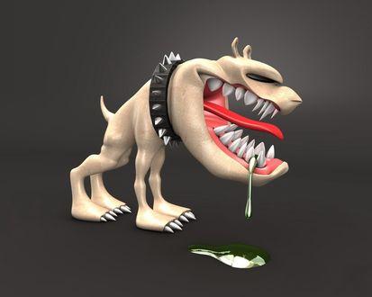 Обои Злобная собака в ошейнике, изо рта капает зелёная слюна