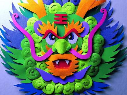 Обои Изображение дракона из цветной бумаги