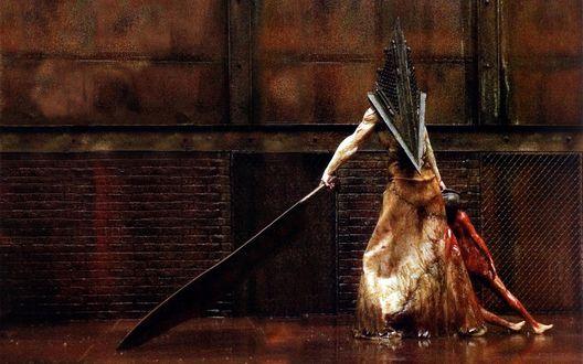 Обои Пирамидоголовый / Pyramid Head с огромным ножом из серии игр и фильмов Silent Hill / Тихий Холм