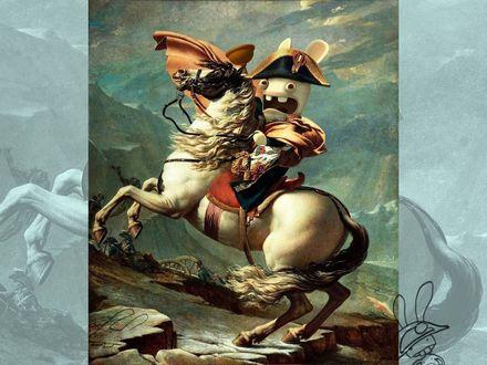 Обои На коне вместо Наполеона Кролик (Rayman Raving Rabbits)