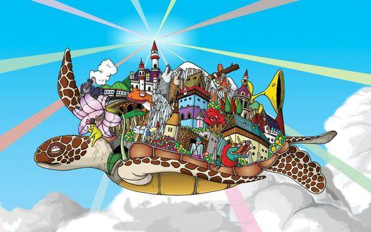 Обои На черепахе, летящей над облаками, нагружено масса чего интересного: город с башнями,  поезд, лягушки, волки, дракон, робот и многое другое(Windows 7)