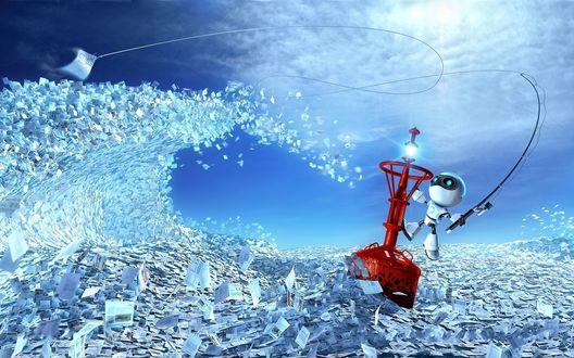 Обои Робот примостился на буйке и пытается поймать на спиннинг в море бумажек именно свою, так ему нужную