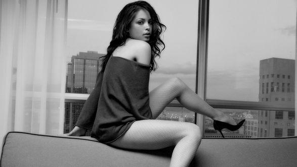Обои Красивая девушка устроилась на спинке дивана на фоне окна