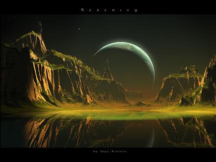 Обои Планета за горами -serenity (прозрачность) by Inga Nietsen