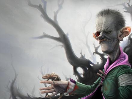 Обои Ушастый зомби держит в руке хамелеона ( Gilbert Ratface)