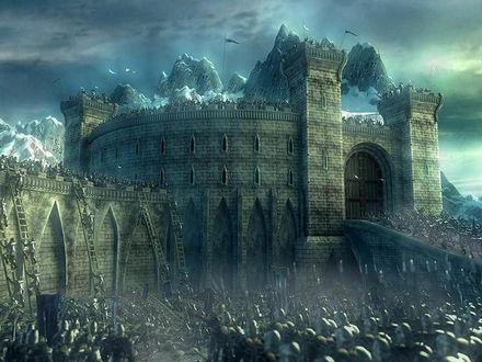 Обои Бесчисленное войско штурмует крепость...