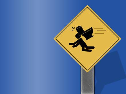 Обои дорожный знак-Внимание:Летающие унитазы