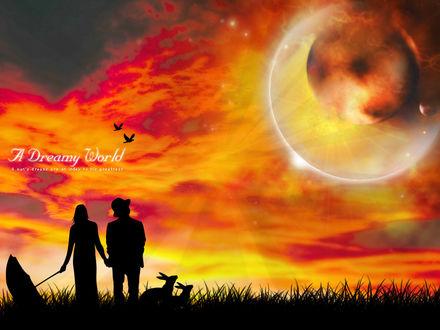 Обои A dreamy world A man's dreams are an to his greatness Девушка, парень и два зайца смотрят на странное затмение