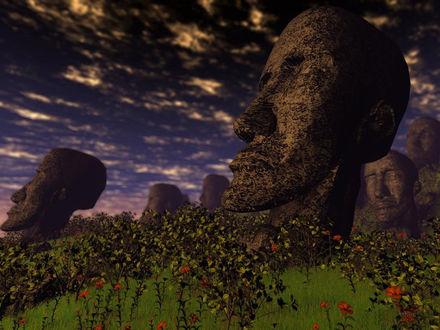 Обои Древние скульпторы с острова Пасхи...