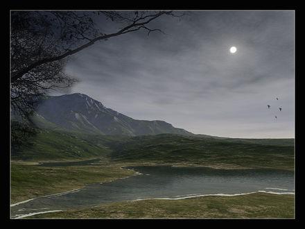 Обои Тихий вечер на речке