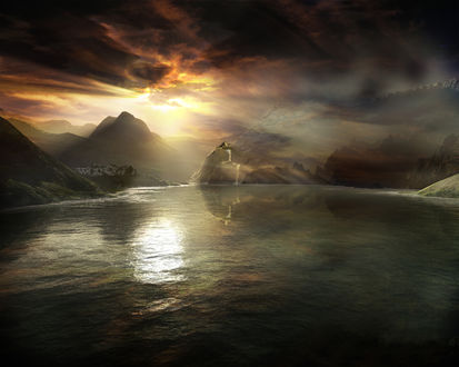 Обои Грозовые тучи над озером