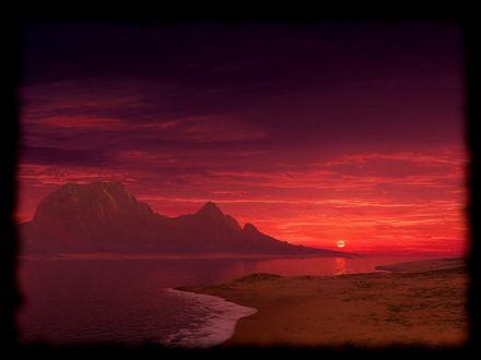 Обои Красный закат на море