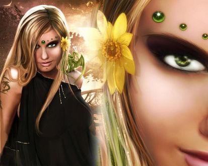 Обои Красивая девушка с зелёными глазами и драконом на плече...