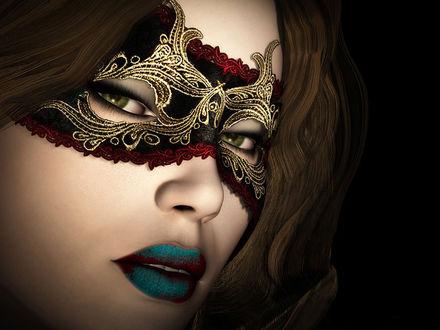 Обои Красивая девушка в маске