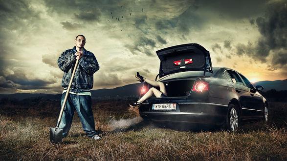 Обои Парень привёз свою неверную девушку на пустырь в багажнике... собрался закапывать
