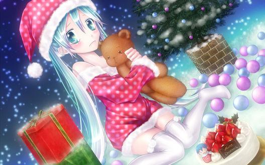 Обои Новый Год. Вокалоид Мику Хатсуне с медвежонком (Merry Christmas)