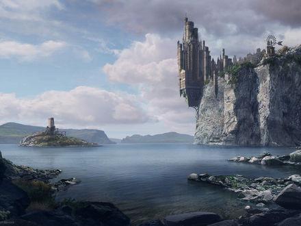 Обои Замок на обрыве каменного утёса...