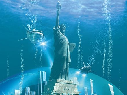 Обои Подводный мир -США , статуя Свободы..
