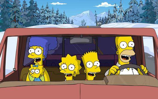 Обои Симпсоны едут на отдых