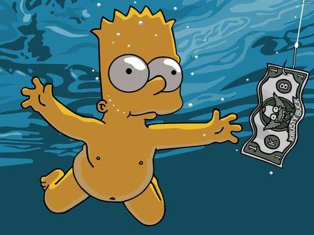 Обои Барт тянется за долларом м/ф Симпсоны