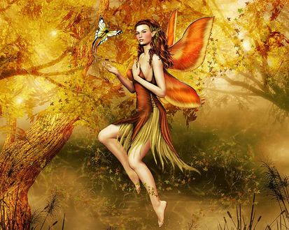 Обои Осенняя фея... с бабочкой