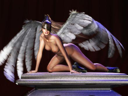 Обои голый ангел на пьедестале