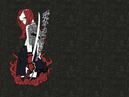 Обои девушка-якудза с татуировкой на спине держит в руке самурайский меч