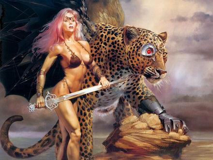 Обои Воительница и леопард, больше похожий на киборга