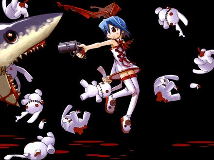 Обои девушка с синими волосами и красным бантом целится из револьвера в акулу,которая жрёт её игрушечных зайчиков
