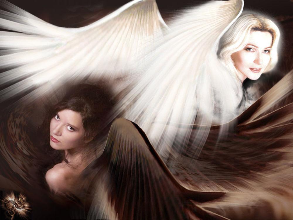 Обои для рабочего стола Две подруги , белый и чёрный ангелы...