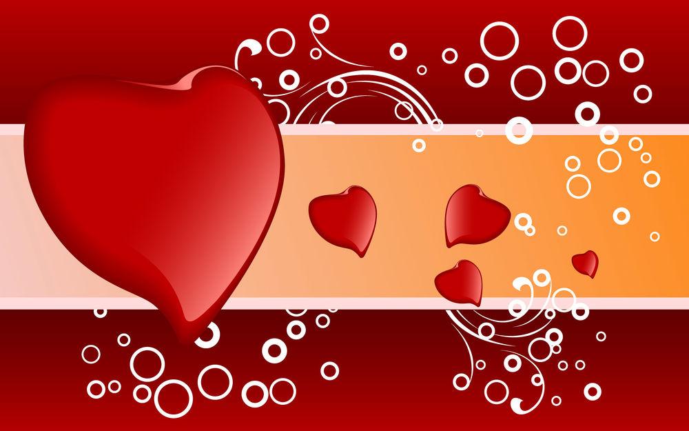 Обои для рабочего стола Красные Сердца разных размеров