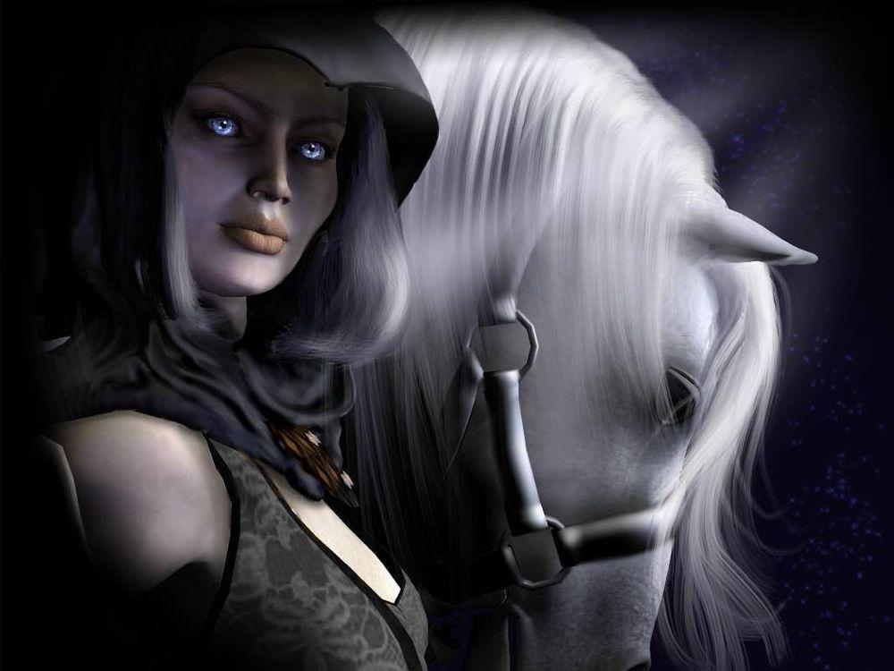 Обои для рабочего стола Девушка с голубыми глазами ведёт белого коня...