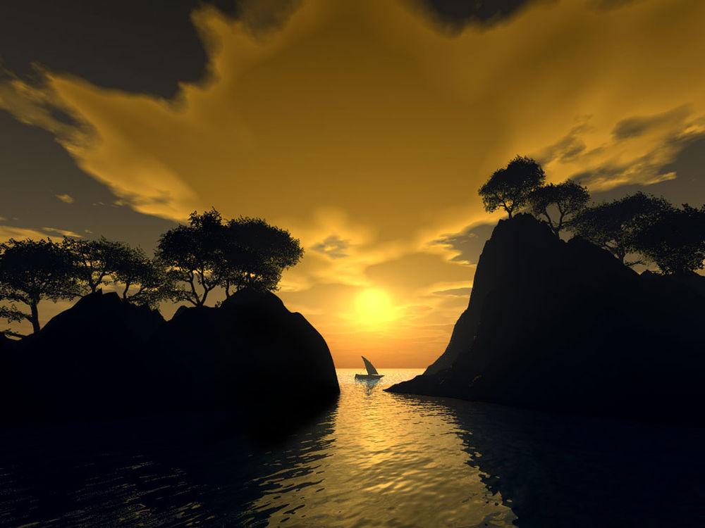 Обои для рабочего стола Парусник  в проливе между горами на фоне красивого заката...