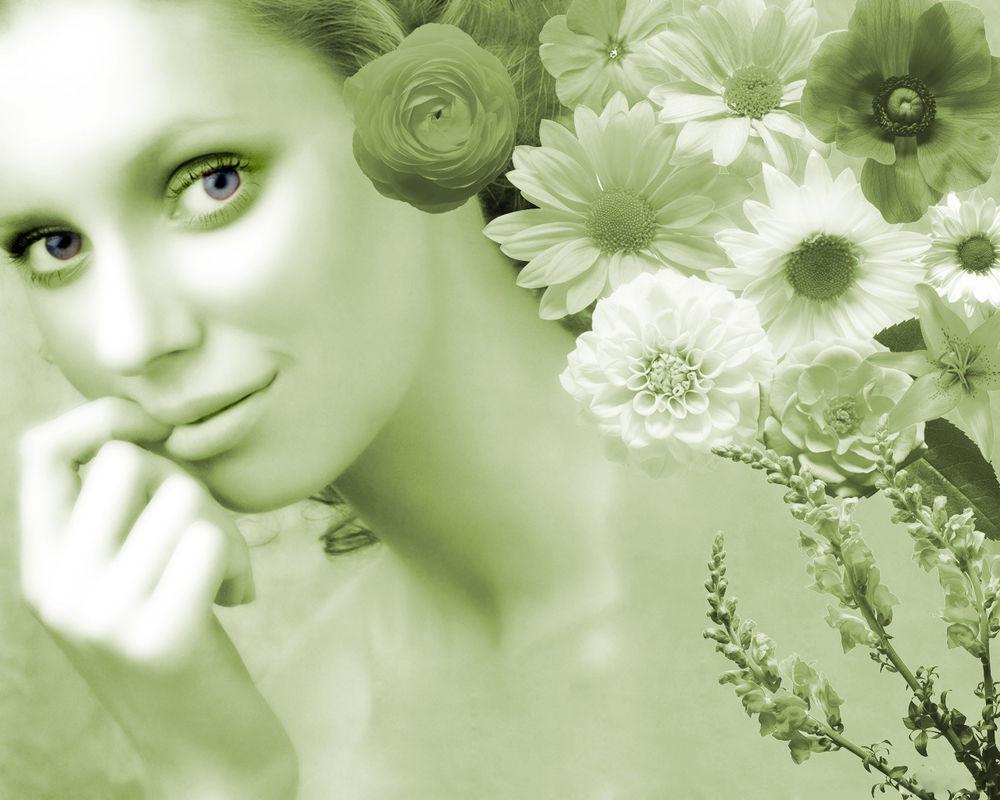 Обои для рабочего стола Нежная девушка с цветами